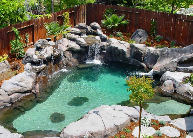 Natural Pool Designs For Small Backyards : Custom residential swimming pools built with our naturalistic look is
